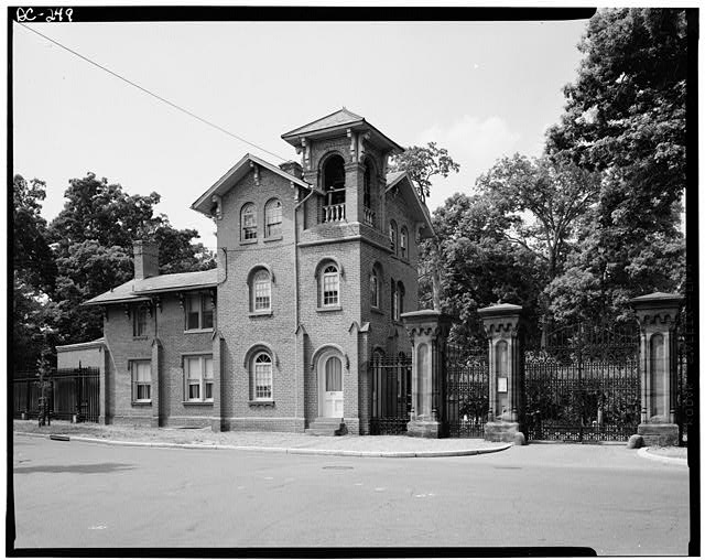 Oak Hill Cemetery gatehouse, where Lincoln entered the cemetery to mourn his son.