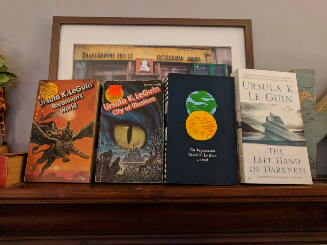 Four of Ursula Le Guin's books, across time