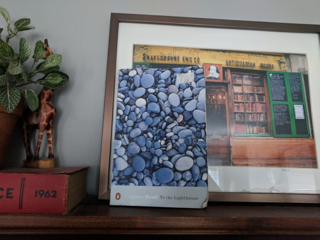 Woolf's book in front of a picture of lots of books