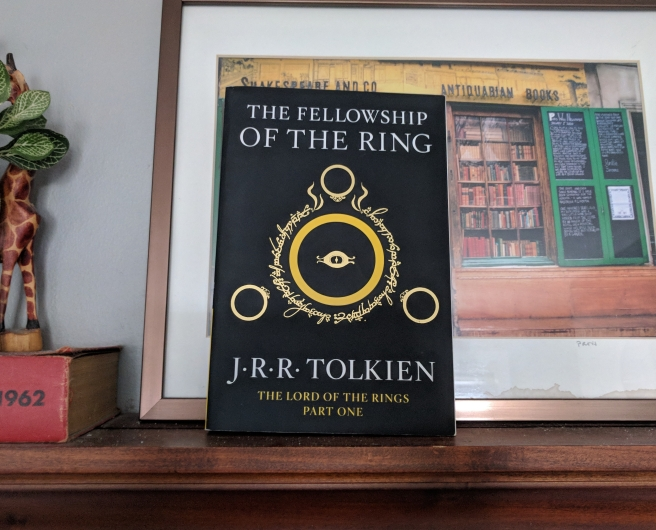 J.R.R. Tolkien's Fellowship of the Ring sitting on a shelf