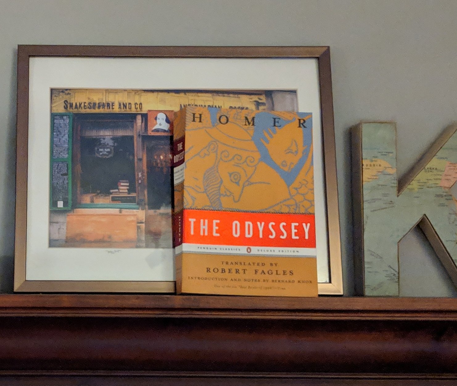 Odyssey fagles on a bookshelf